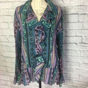 NY Collection Purple Ruffle Bell Sleeve Blouse
